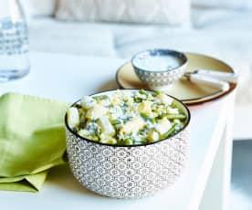Salade couscous, haricots verts, asperges et fenouil, sauce vinaigrette fromage blanc-cerfeuil