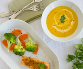 Carrot coriander soup and tikka salmon with steamed vegetables