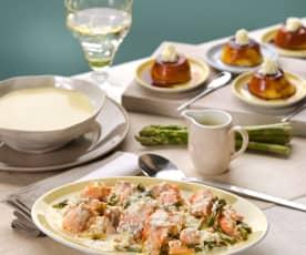 Menú: Vichyssoise. Salmón con espárragos verdes y salsa de queso manchego. Quesillo de yogur