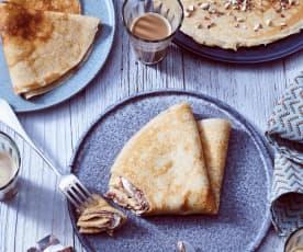 Pfannkuchen mit Milch-Schokoladen-Riegel