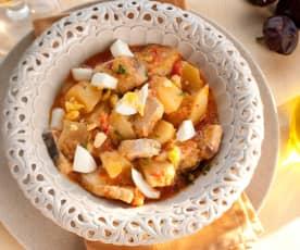 Guiso de pez espada con patatas.