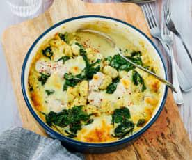 Gnocchi-Auflauf mit Hähnchen und Spinat