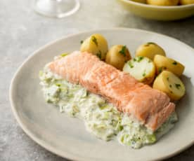 Salmon and Leek Parcel with New Potatoes