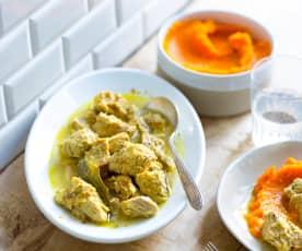 Veau mijoté aux épices, purée de carotte