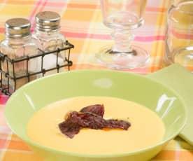 Crema de melocotón de Calanda con crujiente de jamón de Teruel (Aragón)