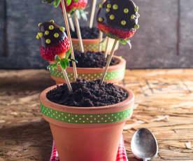 Macetitas de chocolate y fresas
