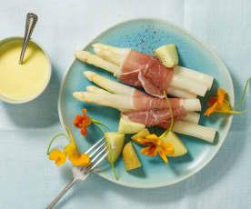 Spargel mit Schinken und Sauce Hollandaise