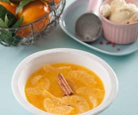 Postre de mandarinas estofadas