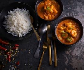 Curry z krewetkami i ryżem