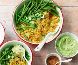 Haricots et riz au curry, sauce à l'avocat