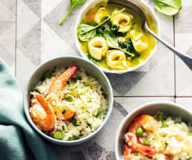 Zupa szpinakowa; Risotto z krewetkami i groszkiem