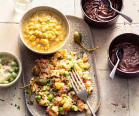 Salada de legumes, guisado de lentilhas e mousse de chocolate (vegan)