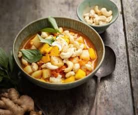 Curry à la mangue, pommes de terre, chou-fleur et noix de cajou