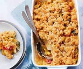Crumble de légumes d'été, filet de bacon et parmesan
