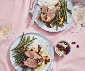 Lammkeule mit Reis und Bohnen