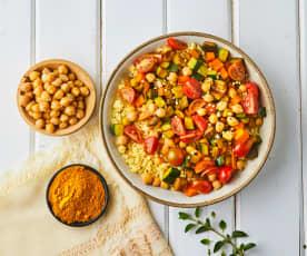 Miglio con ceci e verdure al curry