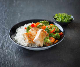 Sweet tamarind fish with mixed vegetables