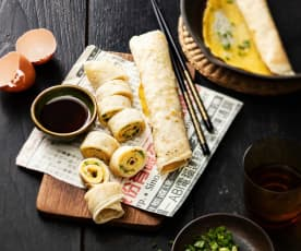 Crêpes chinoises aux œufs et oignons