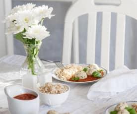 Pulpety z indyka z pęczakiem i sosem pomidorowo-miodowym