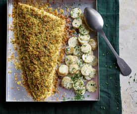 Lombo de salmão com crosta de ervas aromáticas e salada de batata