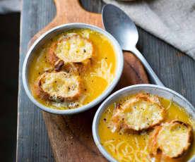 Soupe gratinée de butternut et oignon