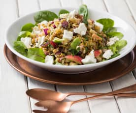 Apple and cranberry farro salad