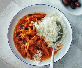 Paprika-Geschnetzeltes mit Reis