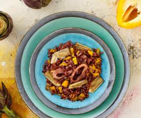 Insalata di riso rosso calamari e carciofi