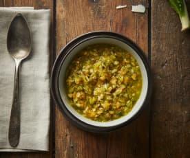 Zuppa di cereali e verdure