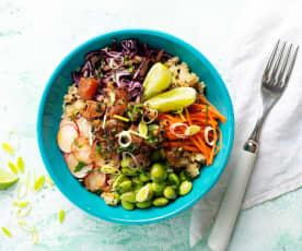 Bol de quinoa con atún marinado (Cocción de arroz)