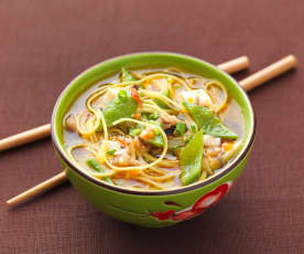 Chinese egg noodle soup with mixed mushrooms
