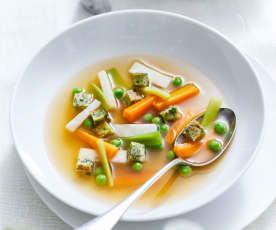 Jarní polévka s bylinkovými kostkami