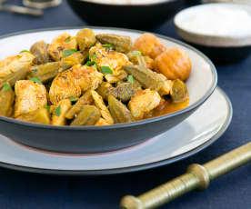 Chicken curry with okra (quwarman al dajaj)
