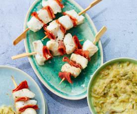 Brochettes de cabillaud au chorizo et fondue de poireaux