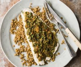Sea Bass with Castelluccio Lentils - Spigola con lenticchie di Castelluccio
