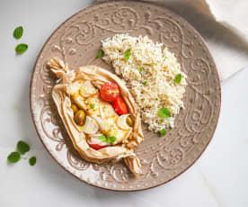 Cuori di merluzzo al cartoccio con riso basmati