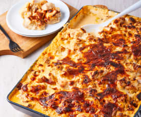 Pechugas gratinadas de pollo en salsa de chipotle