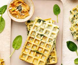 Waffles veganos con espinacas