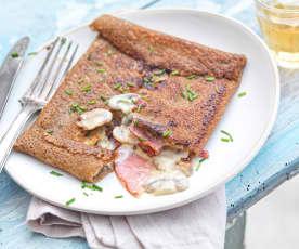 Galette bacon et champignons à la crème