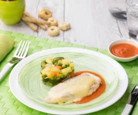 Pollo al Varoma con verdure e salsa ai peperoni