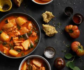 Pomalu vařené kuřecí mexické stew (Pollo estofado con verduras)