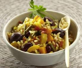 Arroz con verduras y judías rojas