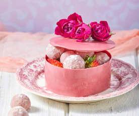 Trufas + caja de chocolate rosa