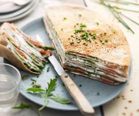 Gâteau de galettes de blé noir saumon-roquette