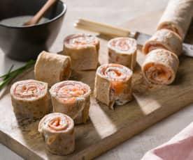 Crêpes de sarraceno con salmón