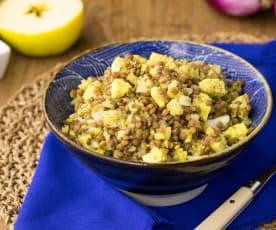 Insalata di lenticchie rosse e tofu al curry (vegan)