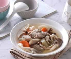 百菇蘿蔔燉牛蒡排骨湯