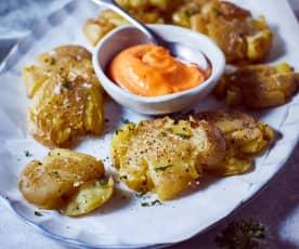 Quetsch-Kartoffeln mit scharfer Aioli