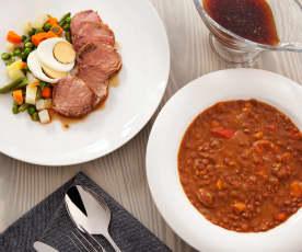 Komplettmenü: Linsen, Schweinefilet und Salat