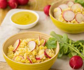 Insalata di cicerchie, ravanelli e vinaigrette alla senape